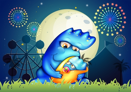 Illustration of a mother monster pacifying her child near the carnival Vector