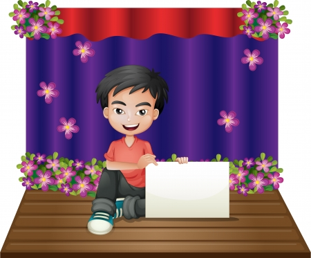 Illustration of a smiling young boy sitting in the middle of the stage holding an empty signage on a white background Vector