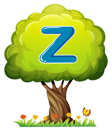 Illustration of a tree with a letter Z on a white background Vector