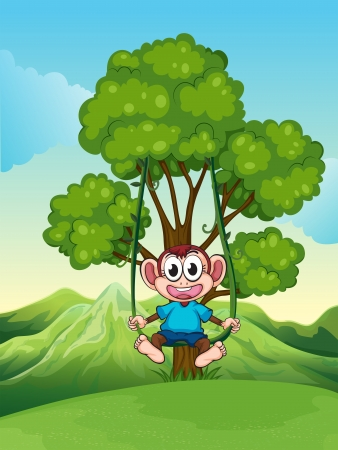 Mountainside: Illustration of a tree with a monkey playing