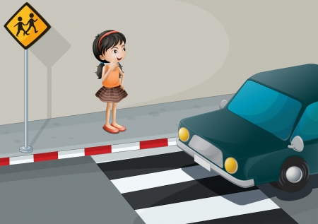 Illustration of a little girl at the pedestrian lane Vector
