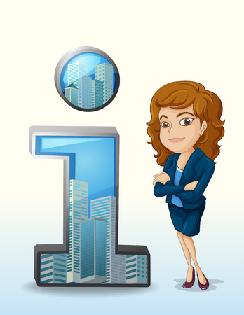 pleasing: Illustration of a businesswoman with a pleasing personality beside the number one figure on a white background Illustration
