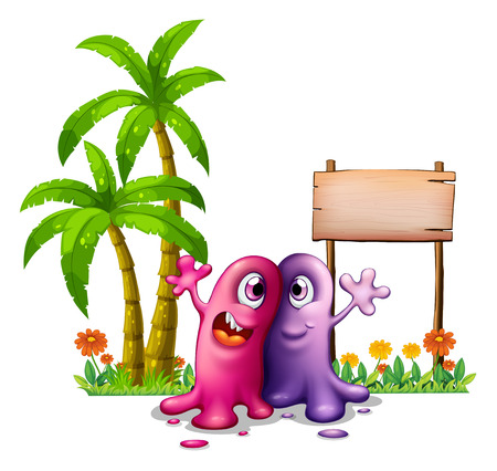 Illustration of the two monsters near the palm trees on a white background Vector