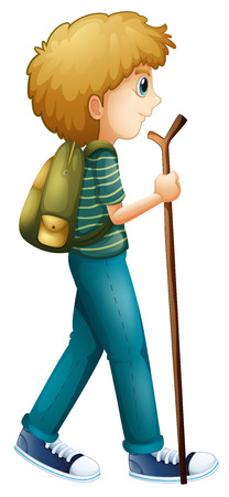 Illustration of a boy hiking with a wood on a white background Vector