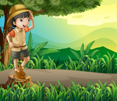 Illustration of a kid above a stump sightseeing Stock Vector - 22404798