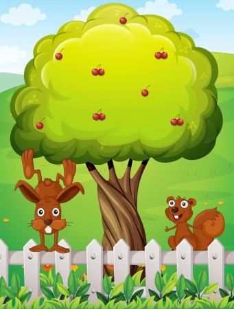 hillside: Illustration of a beaver and a squirrel playing near the tree