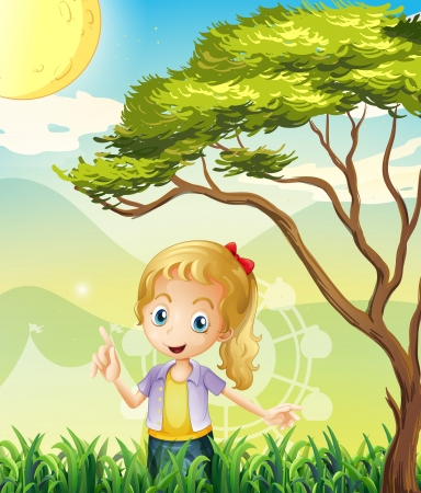 Illustration of a girl in the forest with a carnival Vector