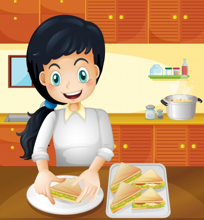sandwiches: Illustration of a happy mother preparing snacks in the kitchen