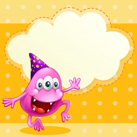 beanie: Illustration of a beanie monster with a purple hat celebrating