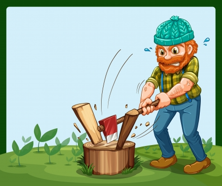 ax: Illustration of a lumberjack chopping the wood