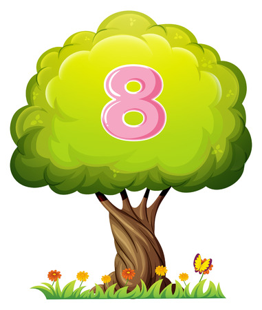 Illustration of a tree with a number eight figure on a white background Vector