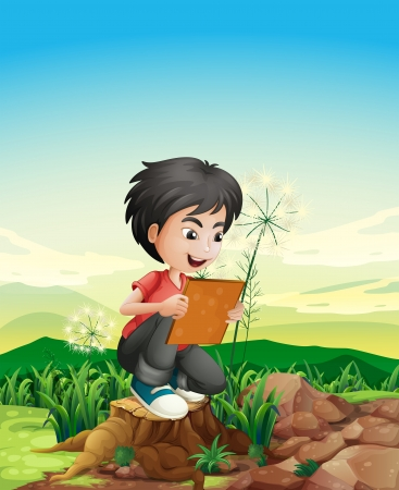illegal logging: Illustration of a boy above a stump holding a picture frame Illustration