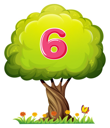 Illustration of a tree with a number six figure on a white background Vector