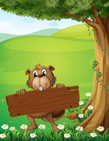 Ilustración de un castor que sostiene un letrero de madera cerca del árbol