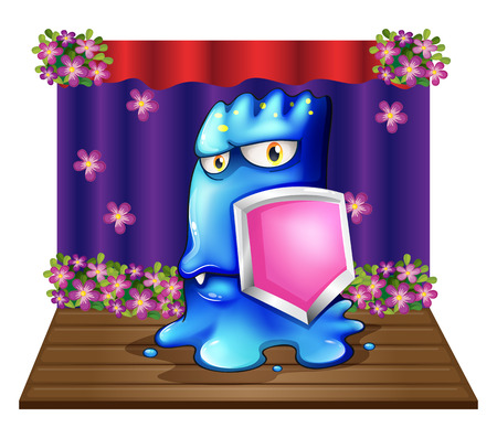 Illustration of a blue monster at the stage holding a shield on a white background Vector