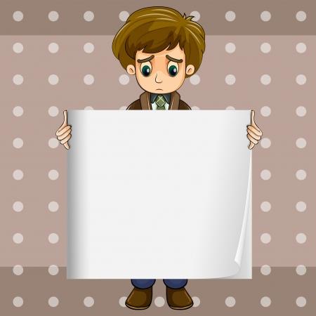 problematic: Illustration of a sad boy holding an empty signage Illustration