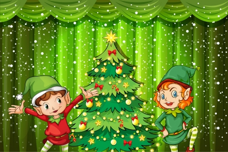 Illustration of the two elves near the christmas tree on a white background Vector