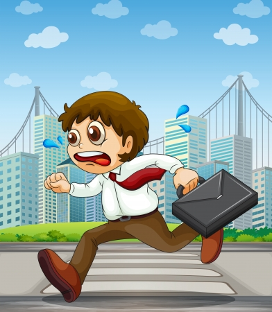 Illustration of a businessman running with a case in his hand Vector