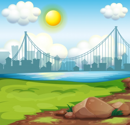 Illustration of a view of the river near the tall buildings under the bright sun Vector