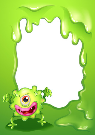 Illustration of a one-eyed green monster in front of an empty template Vector