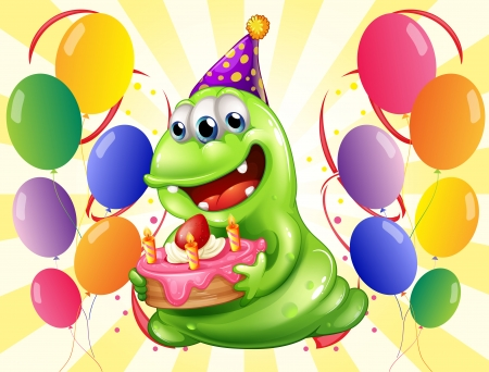 occassion: Illustration of a happy monster surrounded with balloons Illustration