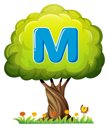 Illustration of a tree with a letter M on a white background Vector