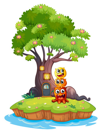 Illustration of an island with three monsters under the giant tree on a white background Vector