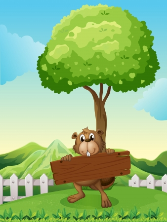 hilltop: Illustration of a beaver at the hilltop holding an empty signboard