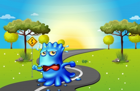 Illustration of a monster running at the road Vector