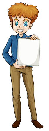 one on one meeting: Illustration of a businessman holding an empty template on a white background