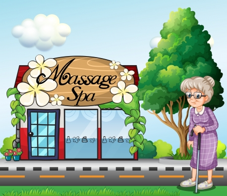 old door: Illustration of an old woman outside the massage spa parlor