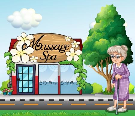 dibujos animados de mujeres: Ilustraci�n de una anciana fuera del sal�n de spa de masajes