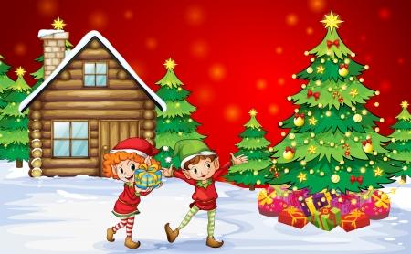 Illustratie van de twee speelse dwergen in de buurt van de kerstbomen