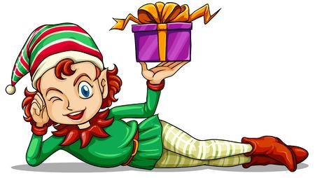 enano: Ilustración de un elfo feliz celebración de un regalo en un fondo blanco