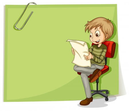 quadrilateral: Illustration of a boy reading in front of a big paper with a clip on a white background