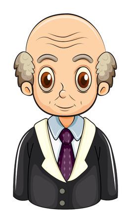Illustratie van een kale zakenman op een witte achtergrond