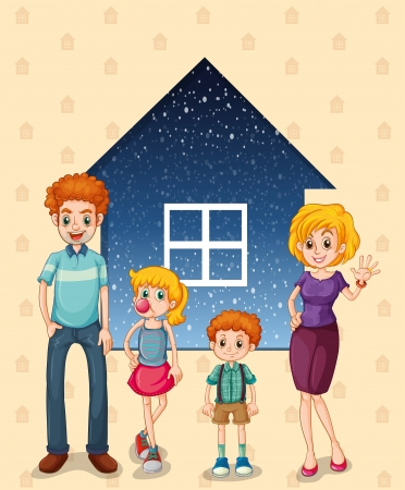 family outside house: Illustration of a family in front of the house Illustration
