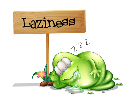 Illustration of a lazy monster sleeping near the wooden signboard Vector