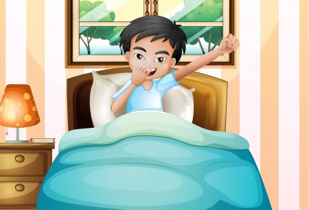 bedroom wall: Illustration of a boy waking up early