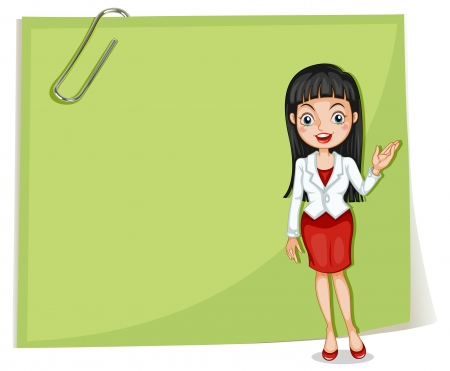 formal attire: Illustration of an empty signage with a businesswoman on a white background