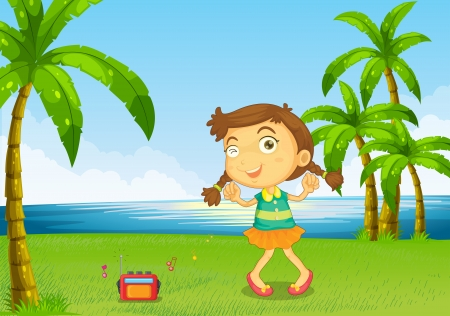 sounds: Illustration of a cute little girl dancing near the river