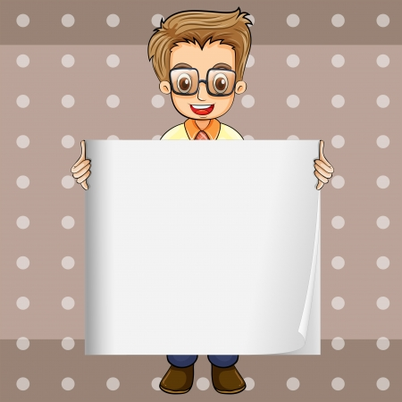 Illustration of a smiling man with an empty signage Vector