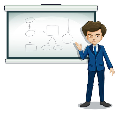 oblong: Illustration of a boy explaining the diagram in the bulletin board on a white background