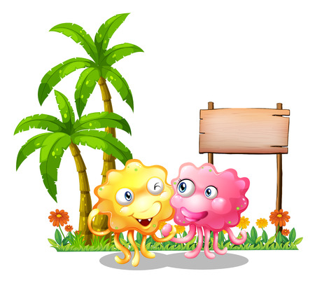 sides: Illustration of the happy monsters near the empty signage beside the palm trees on a white background Illustration
