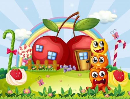 Illustration des trois monstres en face de la maison de la pomme Vecteurs
