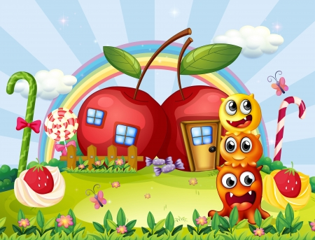 monsters house: Illustration of the three monsters in front of the apple house