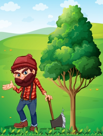 ax: Illustration of a lumberjack near the tree