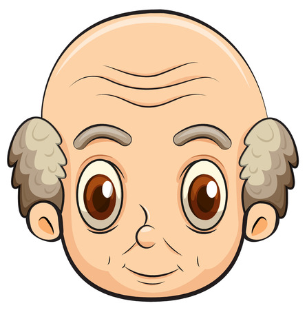 old man cartoon: Illustration of a bald old man on a white background