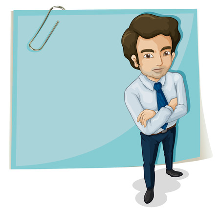 Illustration of a man in front of the empty signage with a paperclip on a white background Stock Vector - 22404996