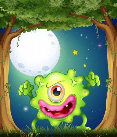 Illustration of a forest with a one-eyed green monster Vector
